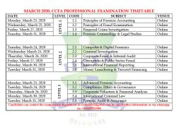 CCFA Professional Exam Timetable_March 2020