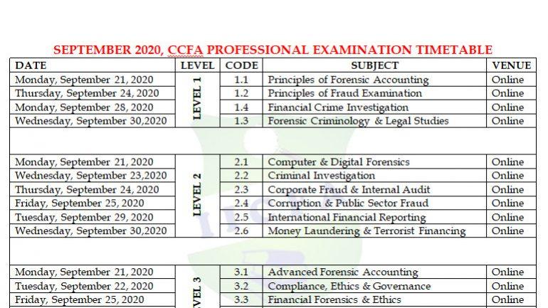 September 2020_CCFA Exam Timetable