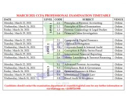 MARCH 2021 CCFA EXAM TIMETABLE